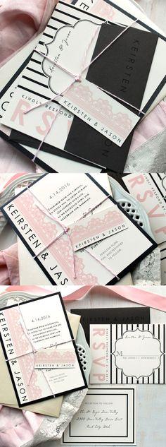Modern Lace - Modern Pink Lace Wedding Invitations #beaconlane #mybeaconlane