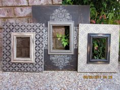 Barnwood Grouping of 3 Distressed Picture Frames. Love these frames, so unique Stencil Painting, Painting Frames, Stenciling, Recycled Furniture, Diy Furniture, Recycled Wood, Frame Crafts, Wood Crafts, Distressed Picture Frames