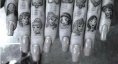 Disney Princess Finger Tattoos