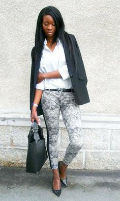 Printed Pants and Blazer Street Style