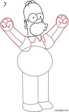 How to Draw Homer Simpson Step 7 Simpsons Drawings, Simpsons Art, Pictures Of Homer Simpson, Homer Simpson Drawing, Drawing Lessons, Learn To Draw, Favorite Tv Shows, Art Projects, Art Drawings