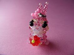 Rose Bunny  Swarovski Crystal Bead Keychain by kawaiibead on Etsy, $30.00