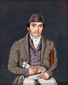 Retrato en miniatura sobre marfil. Caballero con perrito, sentado. Gorro, bastón. Siglo XIX. Spanish portrait miniature