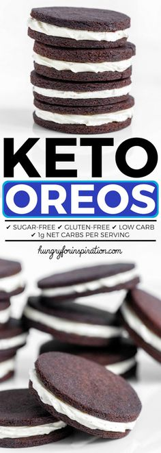Keto Oreo Cookies (Homemade Sugar-Free Oreos) - Delicious Low Carb Oreos (Keto Cookies) that are easy to make (yes, really) with only net carbs! Sugar-free and Gluten-free! cookies and cream cookies christmas cookies easy cookies keto cookies recipes easy Desserts Keto, Sugar Free Desserts, Keto Snacks, Dessert Recipes, Keto Desert Recipes, Sugar Free Recipes, Entree Recipes, Keto Cookies, Homemade Cookies