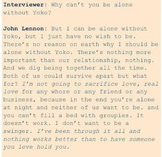 John Lennon on Yoko Ono- My favorite quote of all time