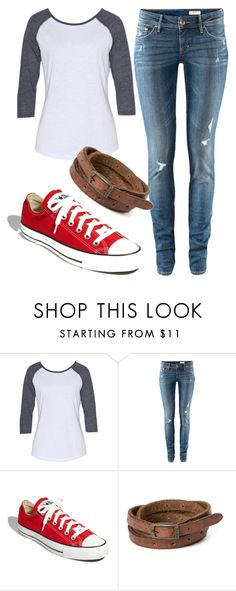 """Everyday"" by carlyeshaw ❤ liked on Polyvore featuring H&M, Converse, Frye, skinny jeans, leather cuff bracelets, converse and baseball tee"