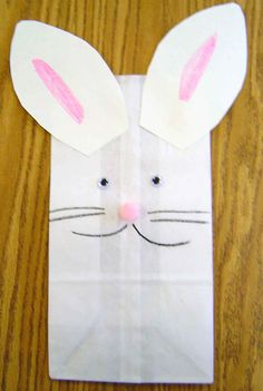 Paper Bag Bunny - cute! Going to add a handle to be our easter baskets!