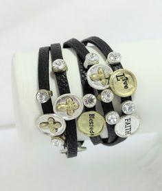 Two-tone Black Faux Leather Clear Rhinestone Believe Live Wrap Bracelet