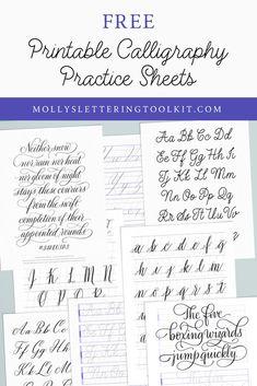 Calligraphy Practice Sheets Free, Alphabet Practice Sheets, Handwriting Practice Sheets, Free Handwriting, Hand Lettering Practice, Hand Lettering Alphabet, How To Write Calligraphy, Modern Calligraphy Alphabet, Calligraphy Tutorial