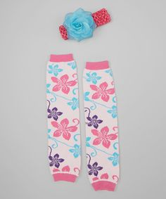Love this Pink & Turquoise Flower Leg Warmers & Flower Headband by Girly Duds on #zulily! #zulilyfinds
