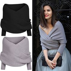 Tackle the cooler season with style with our Anna Shrug Wrap! This knit shrug wrap can be dressed up or down. We love to style this with a pair of skinny jeans or a full tulle skirt. Available in black and gray.Size: One Size fits MostFits size 0-12 or Small-Large comfortablyMaterial: Cotton/Polyester