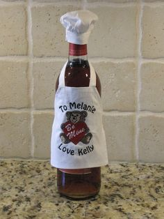 Custom Wine Bottle Apron - Valentine Bear