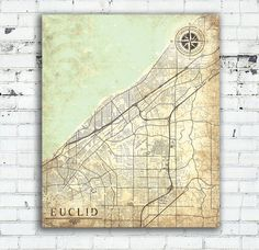 EUCLID Canvas print Ohio OH Vintage map Euclid by NatalyBorichArt