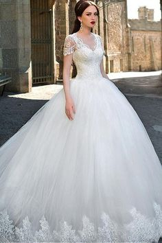V-Ausschnitt Durchsichtige Ärmel Spitze Brautkleid mit Tüll - Bild 1