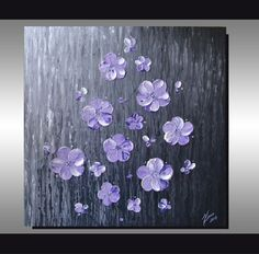 ORIGINAL Textured Art, Contemporary, White Lavender Purple Blossom Painting, Home decor, Landscape, Ready to hang 24x24 Artwork on Etsy, $199.00