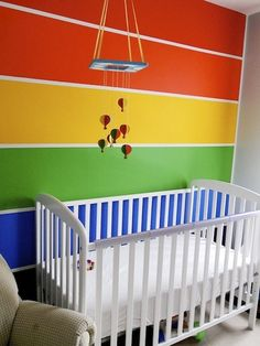 2.PAINT This is an example of painted rooms because there are painted stripes along the wall. It makes the room seem fun and playful. This is different because you have to apply the paint on with a brush manually.