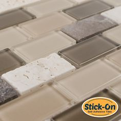 Made of Real Glass and Stone - not vinyl, the Peel and Stick Rome Glass Mosaic Tile is a DIY (do-it-yourself) product that combines glass tiles and the latest peel stick technology suitable for kitche