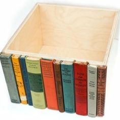 Use old book spines to decorate a drawer..