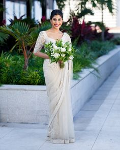 14 Charming Brides who Dazzled in a Saree on their Wedding Day! - Bride stunning in a white saree on her wedding day ! Christian Wedding Dress, Christian Bridal Saree, Christian Bride, White Saree Wedding, White Bridal, Wedding Sarees, Wedding Dresses, Wedding Themes, Wedding Ideas