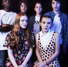 Stranger Things: Caleb McLaughlin, Gaten Matarazzo, Noah Schnapp, Finn Wolfhard, Sadie Sink, and Millie Bobby Brown at San Diego Comic Con 2017 SDCC (photo via Millie's Instagram)