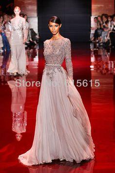 New Elie Saab Beadings Chiffon Backless Long Sleeve Evening Dress $153.59
