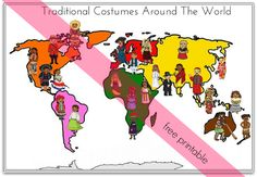 Traditional Costumes Around The World Match Up - Free Printable - Multicultural Activity for Preschool Children - Montessori Nature Blog Subscriber Freebie
