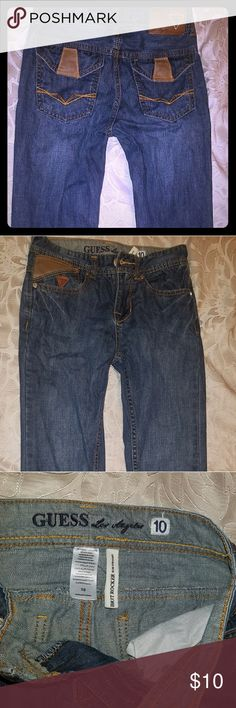 Boys Guess Brit Rocker Slim Straight Fit Jeans Used boys Guess blue denim jeans, Los Angeles style, faux leather detailing, size 10 **bundle with other boys jeans from my closet** Guess Bottoms Jeans