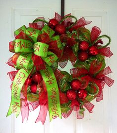 LABOR DAY SALE: Whimsical, Lime Green & Red Striped Deco Mesh Christmas Wreath with Gorgeous Lime Green Merry Christmas Tree Top Bow on Etsy, $45.00