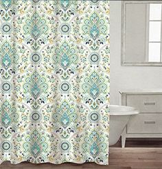 Caro Home Cotton Shower Curtain Floral Paisley Medallions Fabric White Turquoise Green Navy Blue Beige Damask Design