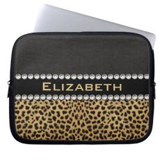 Leopard Spot Rhinestone Diamonds Monogram Laptop Computer Sleeve. Customize / personalize this leopard spot print and black leather design with white diamond rhinestones monogram. (PRINTED PHOTO). See this pattern on iPhones, iPads, Samsungs, Motorola, Kindle, Sleeves for iPad, Laptop, MacBook, etc.. Here: http://www.zazzle.com/ironydesigns/electronics?cg=196048780115439105&rf=238222968750191371&CMPN=zBookmarklet