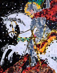 Knight on a White Horse - collage by Anderson Thives