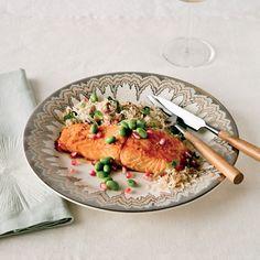 Pomegranate-Glazed Salmon with Armenian Rice | Food & Wine