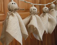 halloween crafts: burlap ghost lights tutorial - crafts ideas - crafts for kids