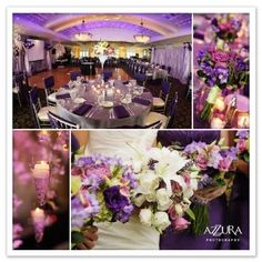 A lavender, pink and white palette will give your event a soft hue of color that is so elegant and charming to the eye. Create tall centerpieces using champagne glass vases, fill with flowers within your palette, and place votive candles for romantic lighting. Hang cone shaped candles holders to complete the look.