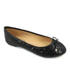 Black Glitter Bow Flat #zulily #zulilyfinds