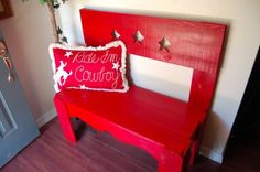 RED Bench Star Bench Cedar Wood Bench Hand by TRUECONNECTION, $399.00