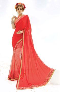 Shop for Ideal red saree @ rs 1520 !!  #IndianSarees #OnlineShopping   #Silksaree #PartyWearSaree