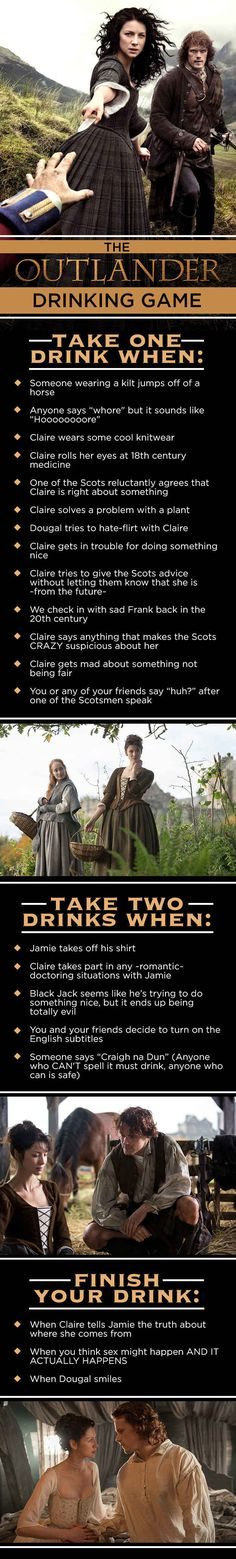 "This will result in a lot of drunk women!! LOL The ""Outlander"" Drinking Game That You Want And Need"