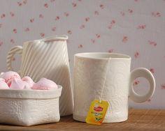#Porcelain #Mug I love the #lace design on it