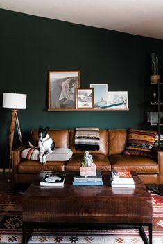 Dark Green Living Room, Dark Green Walls, Dark Living Rooms, Accent Walls In Living Room, Living Room Interior, Home Living Room, Living Room Designs, Dark Wood Furniture Living Room, Dark Accent Walls