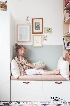 Lola's Bedroom: Before & After!- Nice reading corner in the children's room with IKEA Besta and Stuva. A nice IKEA hack in white and pastel colors. Ikea Hack Kids, Hacks Ikea, Ikea Kids Room, Kids Room Paint, Modern Kids Bedroom, Kids Bedroom Designs, Trendy Bedroom, Bedroom Girls, Diy Bedroom