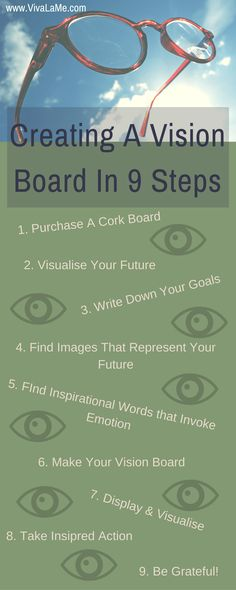 Create a vision board to manifest your goals and desires using these 9 easy to follow steps. Use the Law Of Attraction to live your dreams.