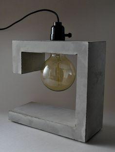 G-Spot Handmade Concrete Table Lamp Cement Art, Concrete Crafts, Concrete Projects, Concrete Light, Concrete Lamp, Concrete Design, Table Beton, Wooden Desk Lamp, Cute Diy Room Decor