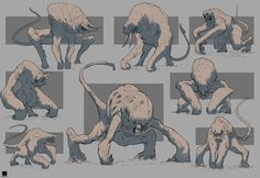 Weekly Sketches - Beasts by Sebastian Luca Monster Concept Art, Alien Concept Art, Creature Concept Art, Monster Art, Creature Design, Game Concept, Creature Drawings, Animal Drawings, Art Drawings