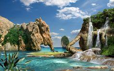 Fantasy Waterfall Nature HD Wallpaper