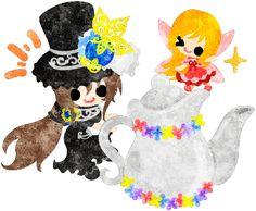 フリーのイラスト素材黒いシルクハットの少女と可愛い妖精と花のティーポット  Free Illustration A black silk hat girl and a cute fairy and a flower tea pot   http://ift.tt/2oFRNS4
