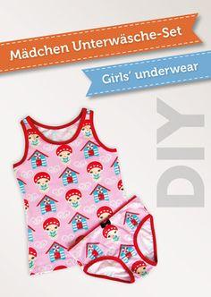 Kinder Unterwäsche aus schönen Stoffresten einfach selbernähen - Schnittmuster (Gr. 92 bis 146) mit Nähvideo