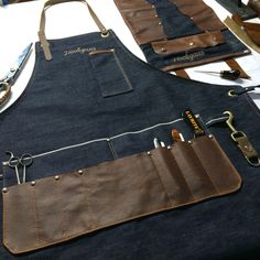 Custom made barber apron and tool roll #denim #selfedge #leather #hooligans…