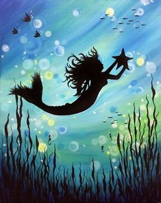 Diamond Painting Mermaid and a Starfish Silhouette Kit Art Geisha, Mermaid Art, Mermaid Paintings, Mermaid Tails, Vintage Mermaid, Tattoo Mermaid, Silhouette Painting, Mermaid Silhouette, Canvas Silhouette