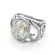 8b66635e00 Cut Out Swirl Design Ring with Roman Glass. Oxidized Sterling SilverSterling  JewelrySilver ...